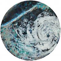 La tempête parfaite/Varadero, graphite et acrylique sur bois, tondo , 50cm, 2012
