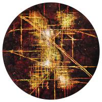 La tempête parfaite/Xtopia, graphite, acrylique et huile sur bois, tondo , 50cm, 2012