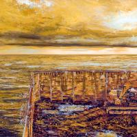 Dimanche après midi sur le fleuve, acrylique et huile sur toile, 91 x 183cm, 2008