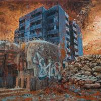 Le principe de la neutralité 2, acrylique et huile sur toile, 45 x 90cm, 2009