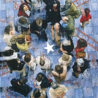 Jeu d'équipe, huile sur toile, 152 x 84cm, 2002
