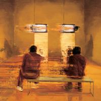 L'acharnement , huile sur toile, 60 x 60cm, 2001