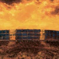 Les émetteurs aphones, huile sur toile, 83 x 152cm, 2001