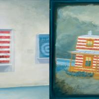Narcisse et les colons, huile sur toile, 105 x 210cm, 1998