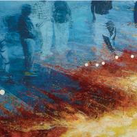 Attentat à la boule de pétanque, huile sur toile, 107 x 214cm, 2005