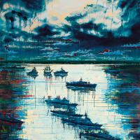 Battleship au clair de lune, acrylique et huile sur toile, 244 x 183cm, 2006