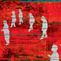 La danse en ligne est une marche militaire, acrylique et huile sur toile, 45,5 x 61cm, 2006