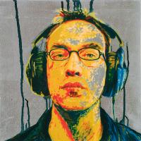 Gronde la menace, huile et feuille d'aluminium sur toile, 30 x 30cm, 2005