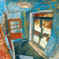 Incendie criminel dans le cap, acrylique, huile et feuille d'aluminium sur toile, 23 x 23cm, 2006