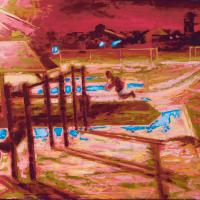 Se balancer de nuit, huile sur toile, 41 x 51cm, 2006