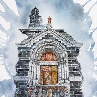 Saint-Déluge-de-la-Consolation 7, Aquarelle sur papier Arches monté sur bois, 30 x 20cm, 2020