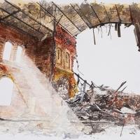 Saint-Déluge-de-la-Consolation 9, Aquarelle sur papier Arches monté sur bois, 61 x 91cm, 2020